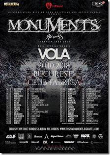 Concert Monuments și Vola pe 20 Octombrie în Fabrica